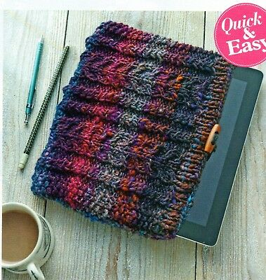 ~ Pull-Out Knitting Pattern For Cabled Toggle Fastening iPad/Tablet Cover ~
