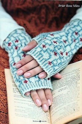 ~ Pull-Out Knitting Pattern For Lady's Beautiful Briar Rose Fingerless Mittens ~