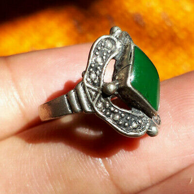 ancient antique silver solid legionary ring metal artifact amazing Green Stone