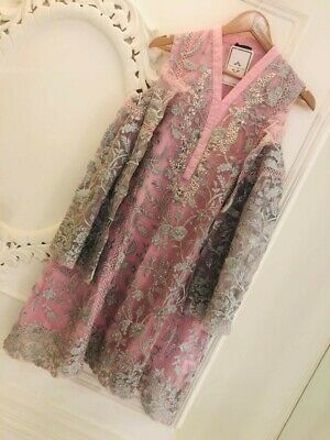 Agha Noor - Pink and Grey Three Piece Suit w Tulip Shalwar   Size MEDIUM