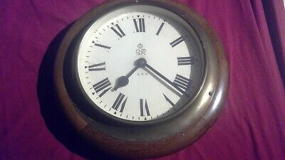 Vintage George VI GPO Circular Office Wall Slave Clock on a Wooden Base