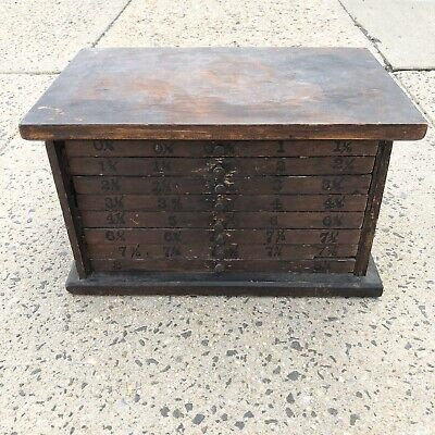 antique 1900's Oak tool machinest Spool carpenter box