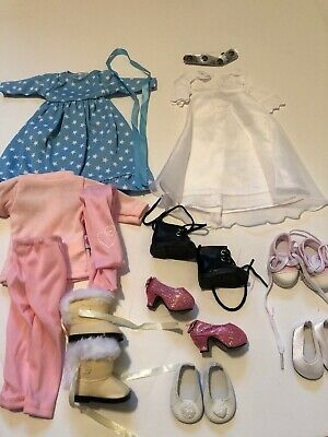 3 Outfits 6 Shoes For Wellie Wisher Dolls 14.5 Inch Doll Clothes