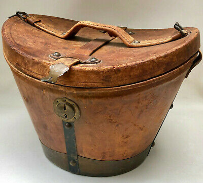 ANTIQUE 1800s FRENCH REAL LEATHER TOPHAT CASE WITH BRASS TRIM, CATCHES & LOCK