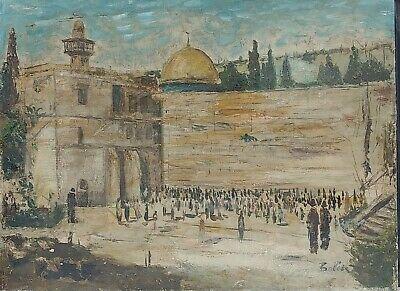 Old American School Jewish Oil On Canvas Painting Of The Jerusalem Crying Wall