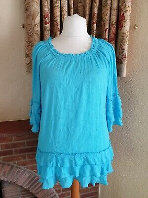 Ladies Turq Crinkle Frill Detail Kaftan Top From South Holiday Beach Size 20
