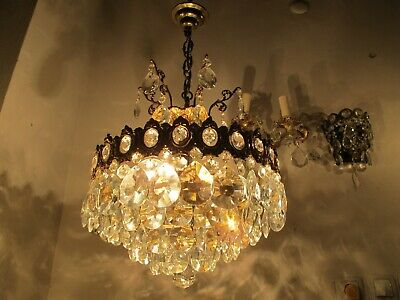 Antique Vnt French Big Crystal Chandelier Lamp Lustre 1940's 14in Ø diamter*RAR