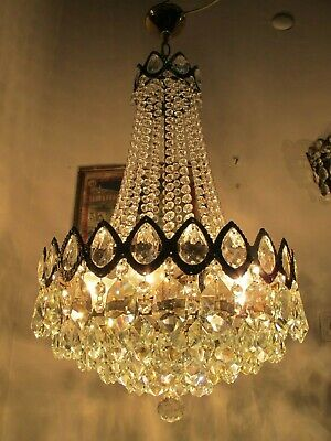 Antique French HUGE Basket Crystal Chandelier Lamp Lustre Luster1940's 16in Ø