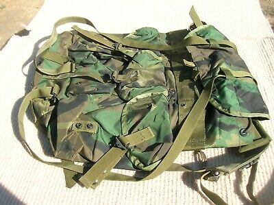 US Military Woodland Camo Alice Field Pack Backpack w/ OD Straps Orig. Military