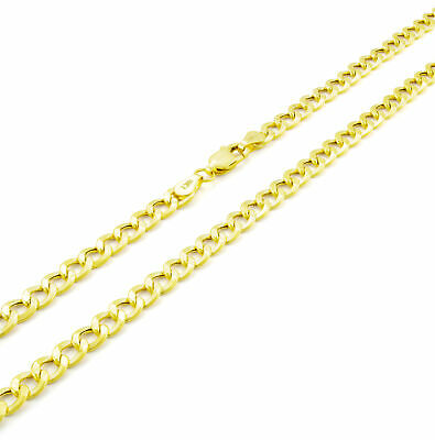 """Real 10K Yellow Gold 4.5mm Curb Cuban Chain Link Necklace Lobster Clasp 20in 20"""""""