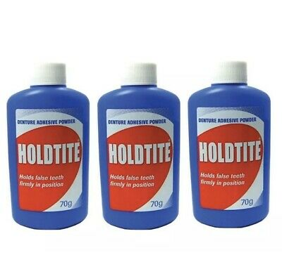 3x Holdtite Denture Adhesive Powder 70g Hold False Teeth Firmly In Position