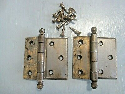 Pair Antique Vintage door hinges overlay,cannon ball,mortise clear/full swing
