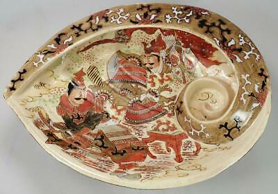 Antique Japanese 19th c. Meiji Satsuma Abalone Shell Bowl Samurai Fight Dragons
