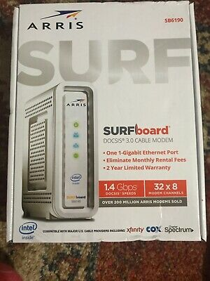 ARRIS SURFboard (32x8) DOCSIS 3.0 Cable Modem, 1.4 Gbps Max Speed, SB6190