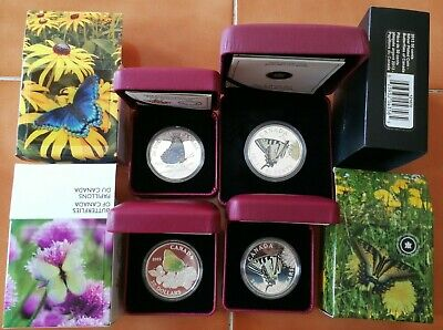 Complete Canada 2013 2014 2015 $20 Butterfly 1 oz silver coin set & 50 cents