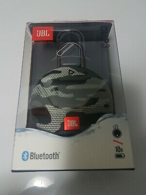 JBL Clip 3 Portable Bluetooth Waterproof Speaker Black Camouflage, New