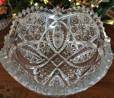 "Antique Abp Superior Heavy 8 3/4"" Marquis Pattern Cut Glass Bowl"