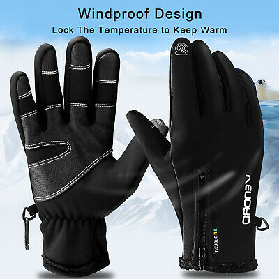 2019 New Touch Screen Gloves Zipper Thermal Winter Sports Skiing Warm Mittens