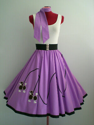 "ROCK N ROLL/ROCKABILLY  ""POODLE"" SKIRT-SCARF S-M Purple."