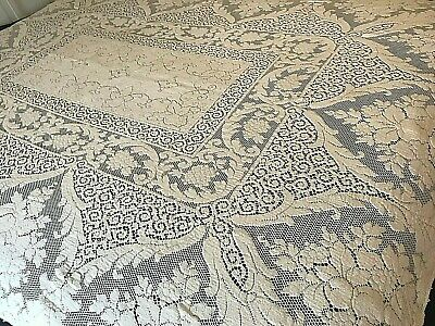 "Quaker Lace #4070 Table Cloth Ornate Floral Fruits Grapes Cream Vtg 62""x86"" A6"