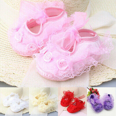 1Pairs Infant Newborn Baby Girls Princess Non-Slip Lace Flower Shoes Kids Gifts