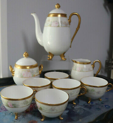 9pc Antique Hand Painted Bavaria Favorite set Tea Pot sugar creamer cups Footed