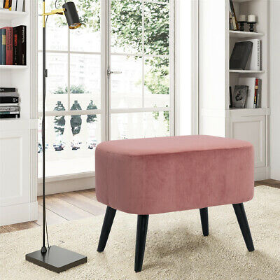 Velvet Pink Footstool Stool Ottoman Velour Pouffe Seater Footrest Living Bedroom