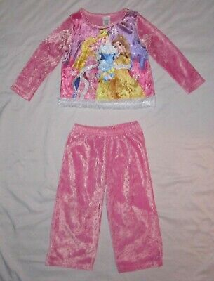 Girls DISNEY PRINCESS Pink Crushed Velvet Shirt Pants Winter Pajamas -size 4
