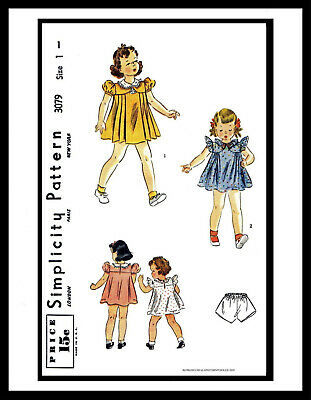 Simplicity # 3079 GIRL Sewing Pattern CUTE Dress Frock & Panties 1940's size ~1~