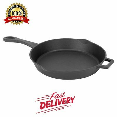 14-inch Cast Iron Fry Pan Skillet Southern Kitchen Pre-seasoned Fixed Handle
