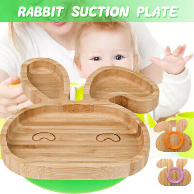 Baby Toddler Suction Plates Stay Put Feeding Plate Natural Bamboo Rabbit Shape