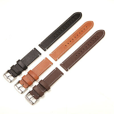 Women Men's Two-piece Genuine Leather Watch Strap Band Replacement Strap 20 22mm