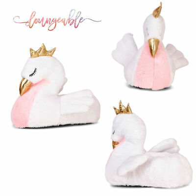 Loungeable Womens Novelty White Swan Soft Slippers 3D Fluffy Nightwear Warm