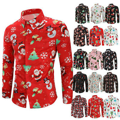 Au Mens Christmas Santa Xmas Fancy Dress Shirt Hawaii Party Holiday Long Sleeve