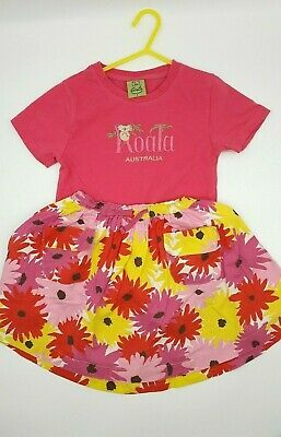 Girls Clothes 4-5 Years Outfit Boden Pink T Shirt Floral Layered Skirt