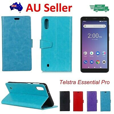 Telstra Essential Pro Leather Wallet Cover Soft Back Case with Stand