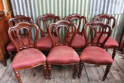 A Set of Six - Seven Victorian Mahogany Upholstered Dining Chairs