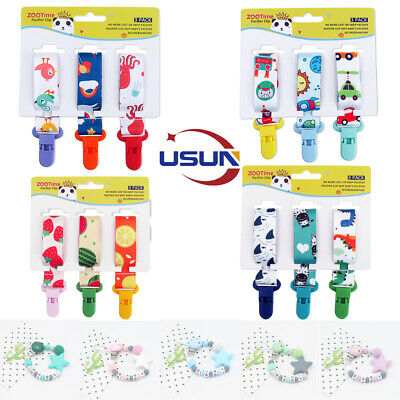 Usun Dummy Clip Holder Baby Pacifier Clip Teething Silicone Beads Soother Chains