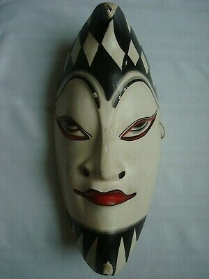 Vintage Wooden Jester Arlecchino Joker Face Mask Hand Carved Painted