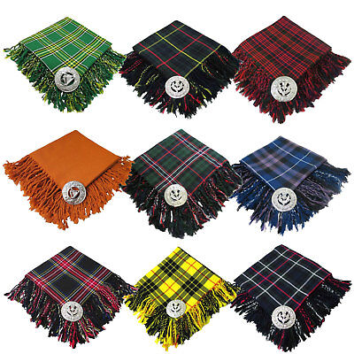 Brand New Men's Kilt Fly Plaid With Thistle Brooch in Different Tartans Colours