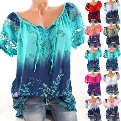 Women Boho Floral Short Sleeve Tops Blouse Casual Lace Baggy Tee Shirt Plus Size
