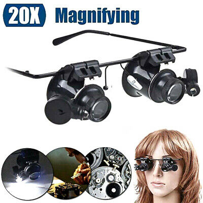 20X Magnifier Magnifying Eye Glass Loupe Jeweler Watch Repair Kit With LED
