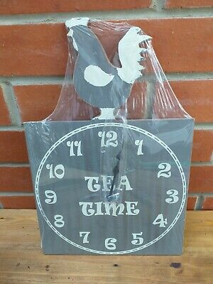 Tea Time Slogan With Chicken Wall Clock, Country Kitchen, Cafe, Shabby Chic New