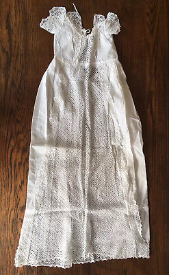 Antique Edwardian White Linen Broderie Anglaise Christening Gown. Baby Dress