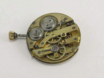 Antique SWISS MANUAL WIND POCKET WATCH MOVEMENT with DIAL, HANDS, STEM & CROWN