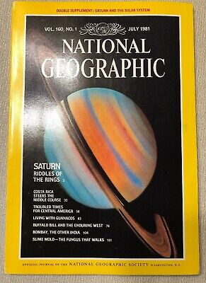 National Geographic Magazine July 1981, Saturn Riddles Ring - MINT with MAP!