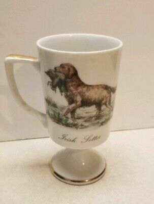 Vintage Irish Setter Dog Coffee Pedestal Mug Cup Hunting  Fred Roberts Japan 19