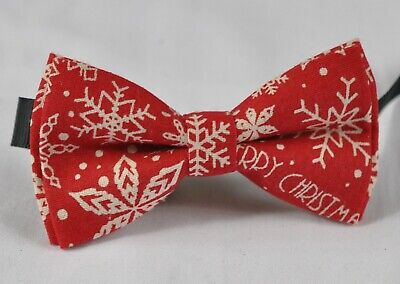 Boy Kids Baby Red and White Snowflake Xmas Christmas Bow tie Fits 1-6 Years Old