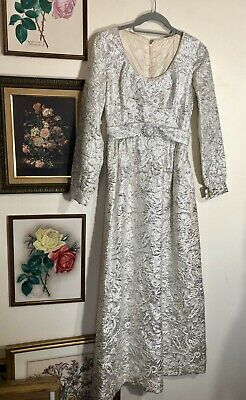 Vtg 60s 70s Bridal Wedding Dress Metallic Floral Belted Dress Sleeves Size Small