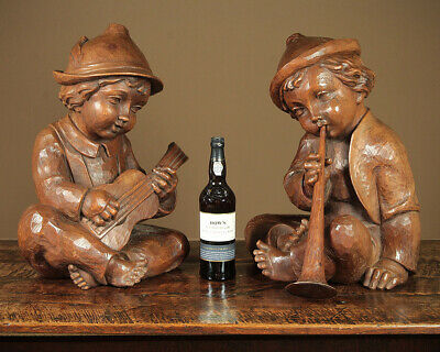 Unusual Pair Large Black Forest Carved Hummel Figures c.1960.